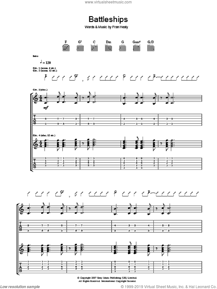 Battleships sheet music for guitar (tablature) by Fran Healy and Merle Travis. Score Image Preview.