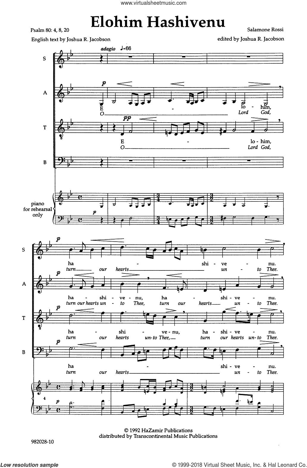 Elohim Hashiveinu (O Lord, Turn Our Hearts) sheet music for choir (SATB: soprano, alto, tenor, bass) by Joshua Jacobson and Salamone Rossi, intermediate skill level