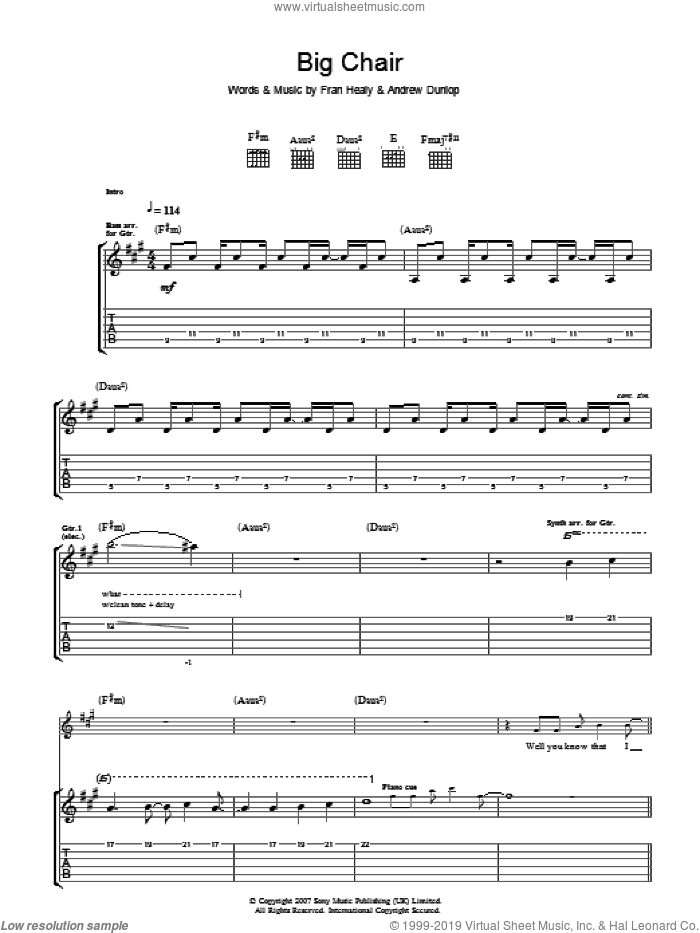 Big Chair sheet music for guitar (tablature) by Andrew Dunlop, Merle Travis and Fran Healy. Score Image Preview.