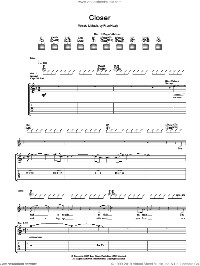 Closer sheet music for guitar (tablature) by Merle Travis and Fran Healy, intermediate skill level