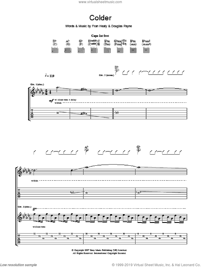 Colder sheet music for guitar (tablature) by Merle Travis, intermediate guitar (tablature). Score Image Preview.