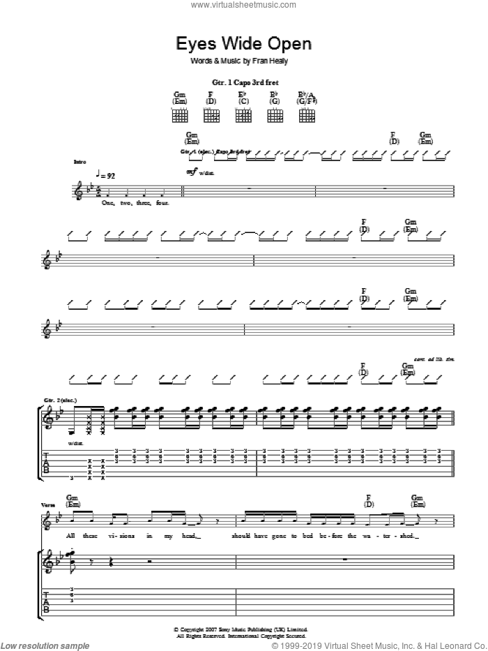 Eyes Wide Open sheet music for guitar (tablature) by Fran Healy