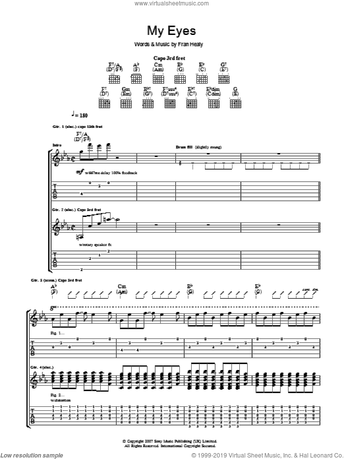 My Eyes sheet music for guitar (tablature) by Merle Travis and Fran Healy, intermediate skill level