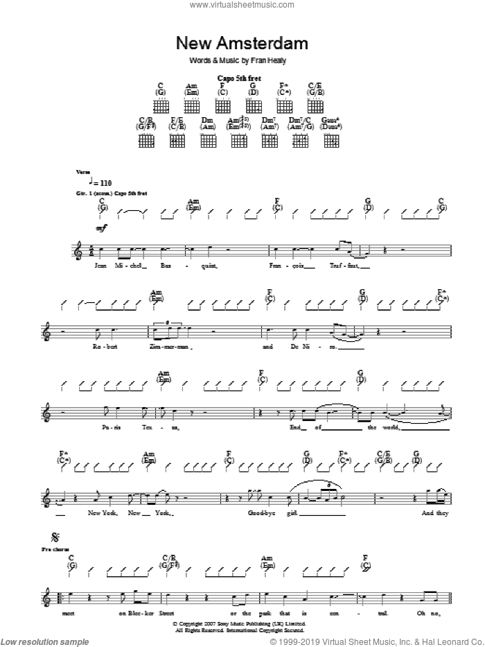 New Amsterdam sheet music for guitar (tablature) by Fran Healy and Merle Travis. Score Image Preview.