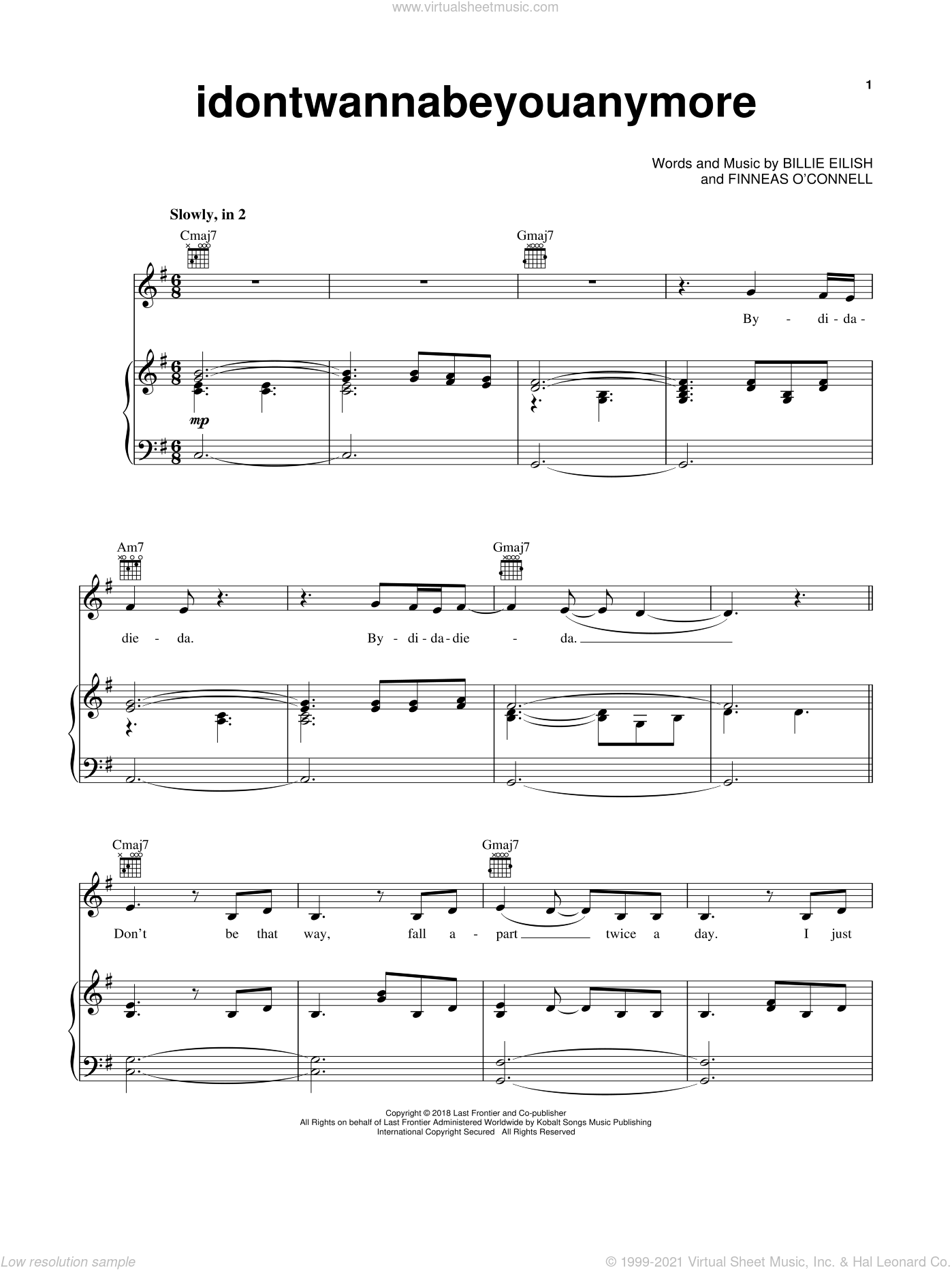 idontwannabeyouanymore sheet music for voice, piano or guitar by Billie Eilish, intermediate skill level