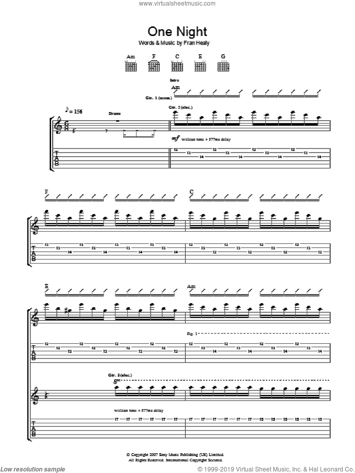 One Night sheet music for guitar (tablature) by Fran Healy and Merle Travis. Score Image Preview.