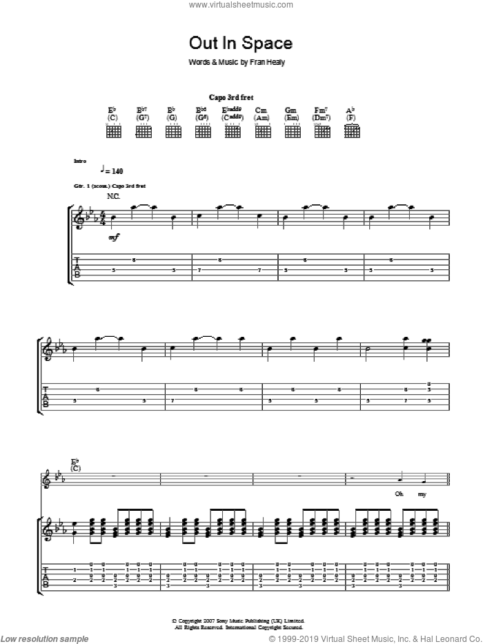 Out In Space sheet music for guitar (tablature) by Fran Healy and Merle Travis. Score Image Preview.