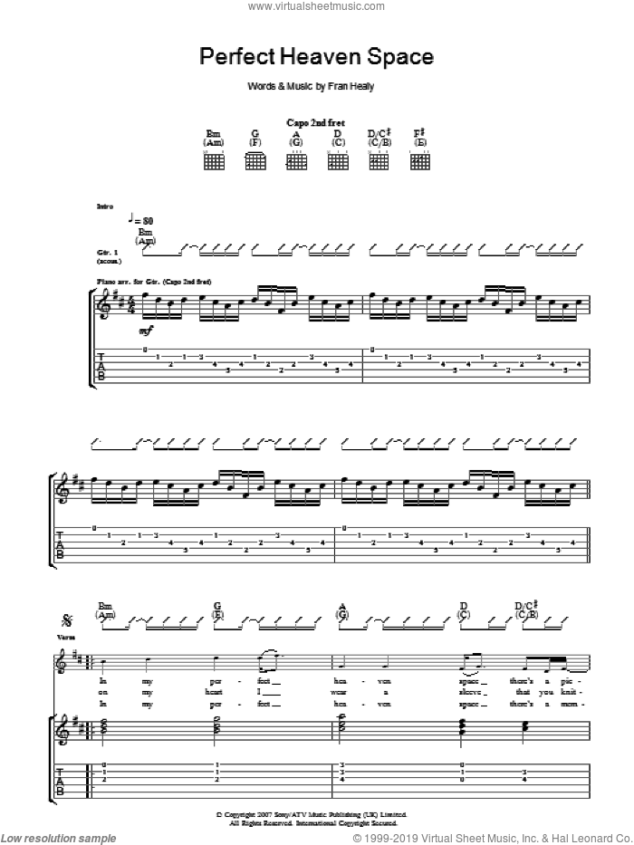 Perfect Heaven Space sheet music for guitar (tablature) by Merle Travis and Fran Healy, intermediate. Score Image Preview.