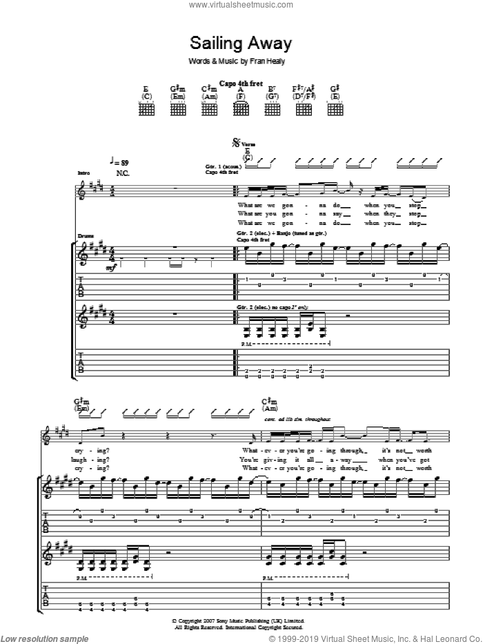 Sailing Away sheet music for guitar (tablature) by Merle Travis, intermediate. Score Image Preview.