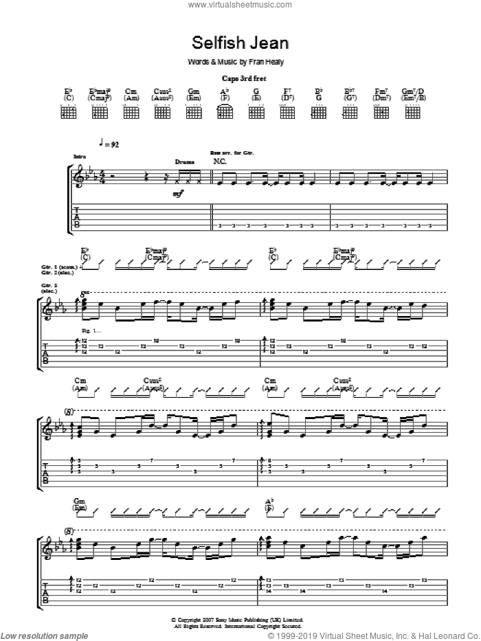 Selfish Jean sheet music for guitar (tablature) by Fran Healy and Merle Travis. Score Image Preview.