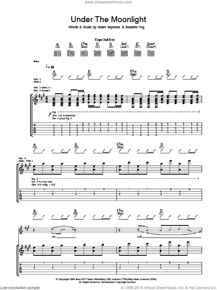 Under The Moonlight sheet music for guitar (tablature) by Adam Seymour