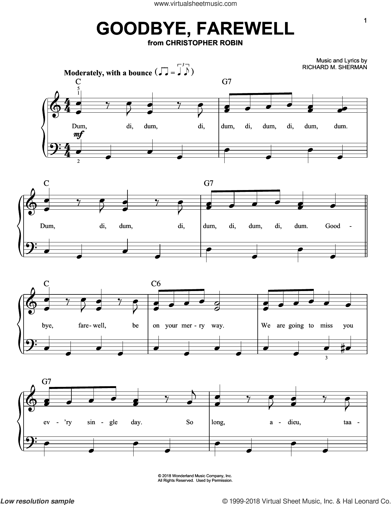 Goodbye, Farewell (from Christopher Robin) sheet music for piano solo by Geoff Zanelli & Jon Brion, Geoff Zanelli and Jon Brion, easy skill level