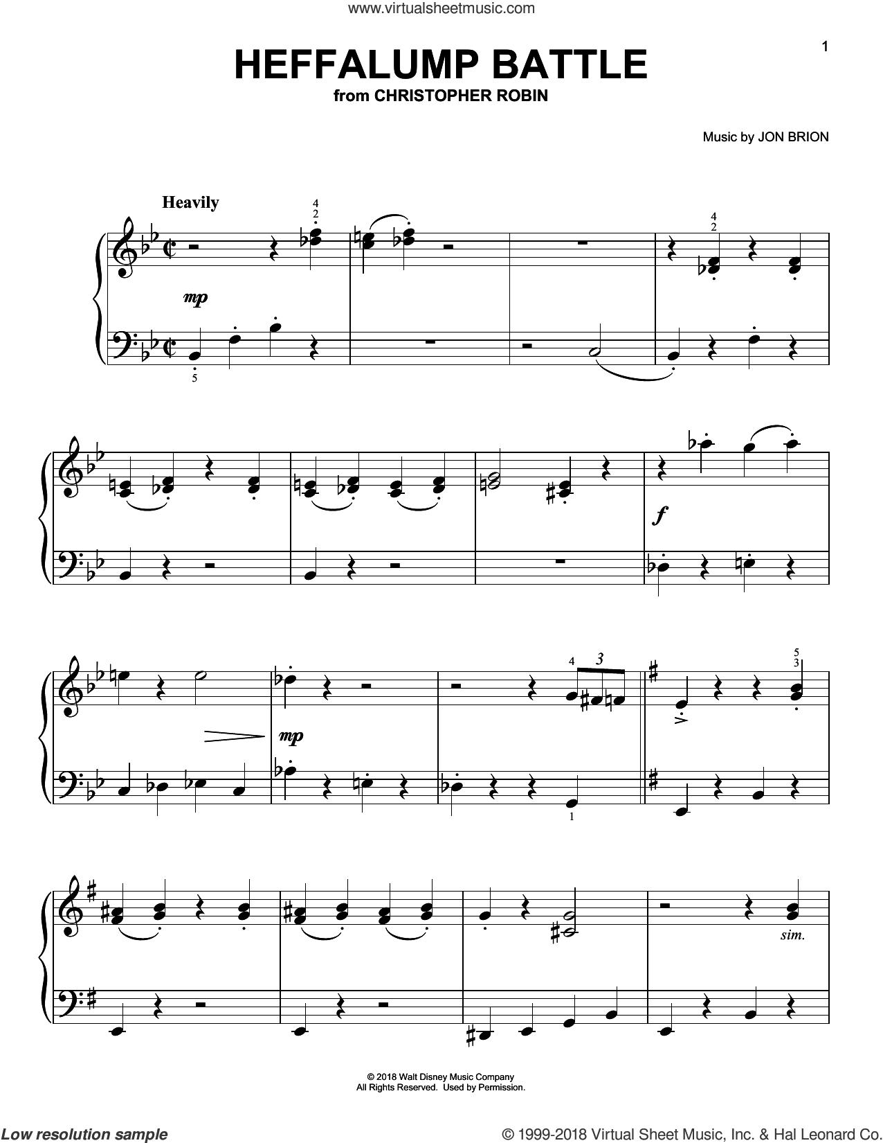 Heffalump Battle (from Christopher Robin) sheet music for piano solo by Geoff Zanelli & Jon Brion, Geoff Zanelli and Jon Brion, easy skill level