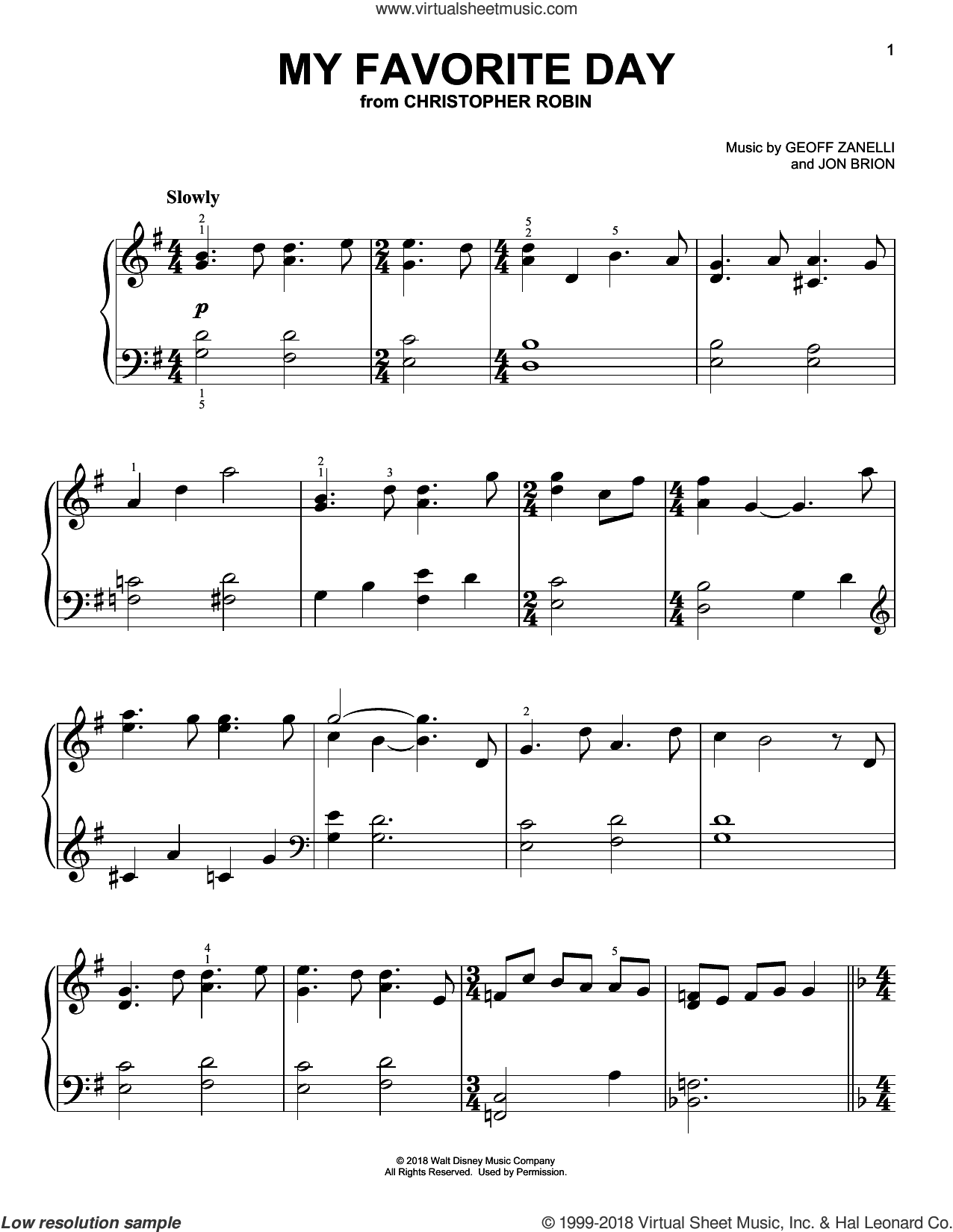 My Favorite Day (from Christopher Robin) sheet music for piano solo by Geoff Zanelli & Jon Brion, Geoff Zanelli and Jon Brion, easy skill level