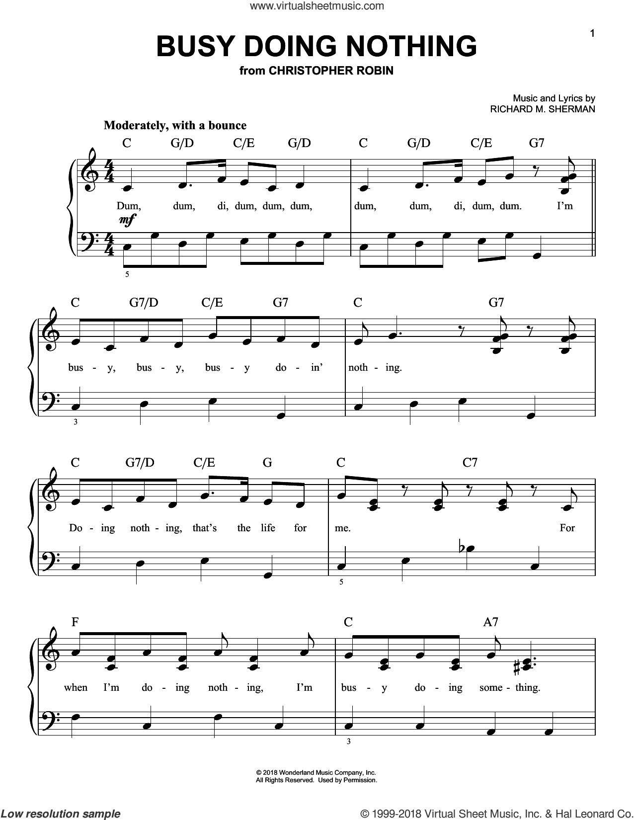 Busy Doing Nothing (from Christopher Robin) sheet music for piano solo by Geoff Zanelli & Jon Brion, Geoff Zanelli, Jon Brion and Richard M. Sherman, easy skill level