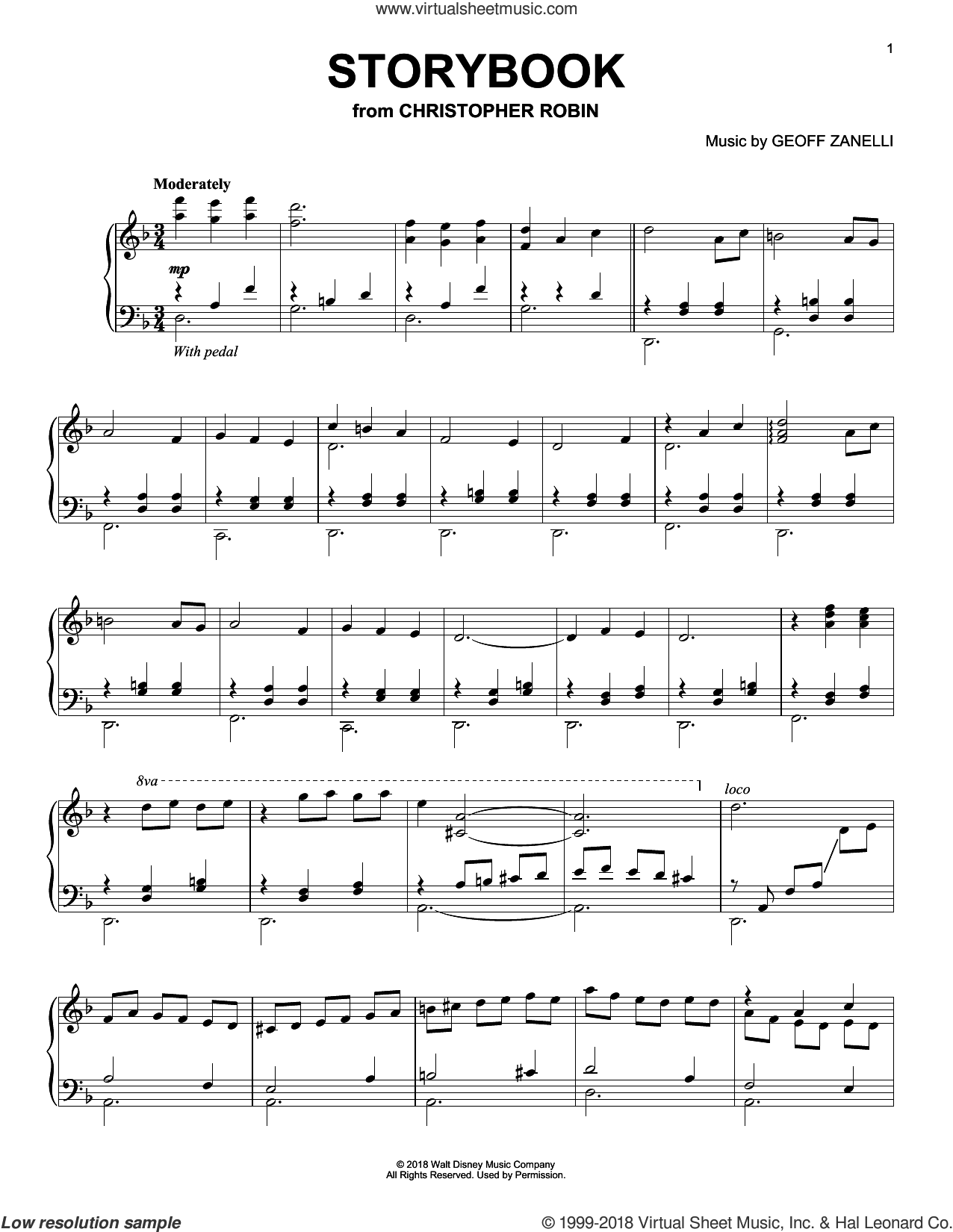 Storybook (from Christopher Robin) sheet music for piano solo by Geoff Zanelli & Jon Brion, Geoff Zanelli and Jon Brion, intermediate skill level