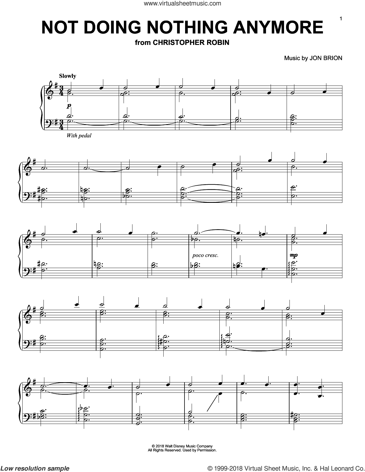 Not Doing Nothing Anymore (from Christopher Robin) sheet music for piano solo by Geoff Zanelli & Jon Brion, Geoff Zanelli and Jon Brion, intermediate skill level