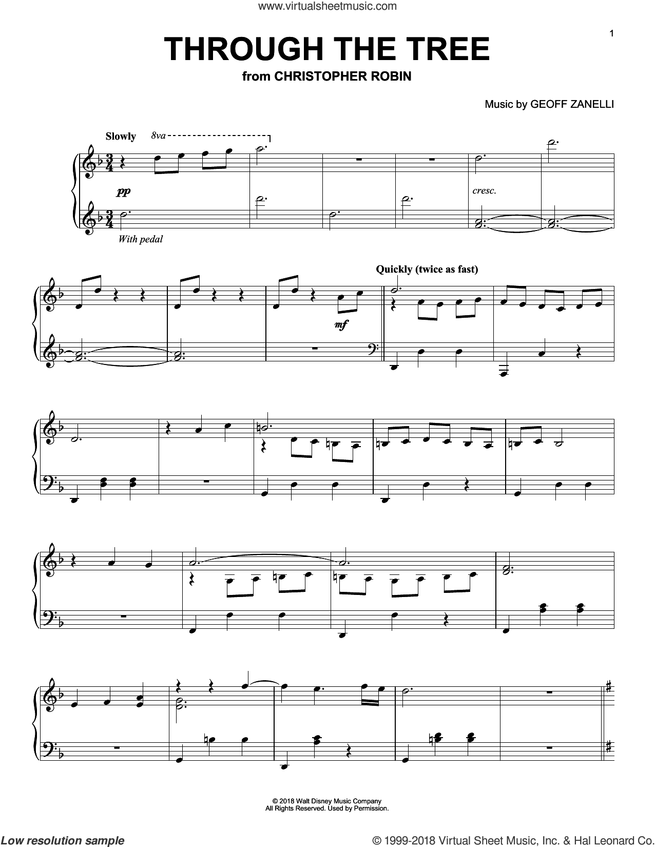 Through The Tree (from Christopher Robin) sheet music for piano solo by Geoff Zanelli & Jon Brion, Geoff Zanelli and Jon Brion, intermediate skill level