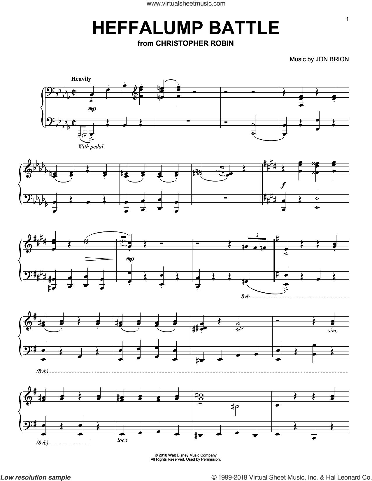 Heffalump Battle (from Christopher Robin) sheet music for piano solo by Geoff Zanelli & Jon Brion, Geoff Zanelli and Jon Brion, intermediate skill level