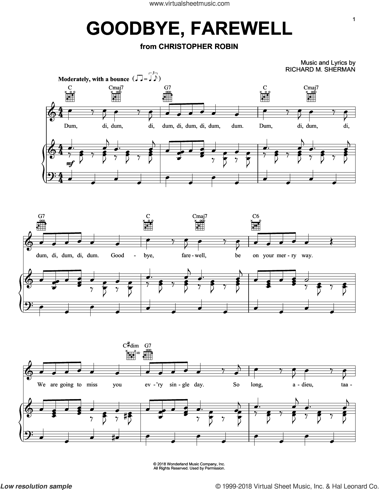 Goodbye, Farewell (from Christopher Robin) sheet music for voice, piano or guitar by Geoff Zanelli & Jon Brion, Geoff Zanelli and Jon Brion, intermediate skill level