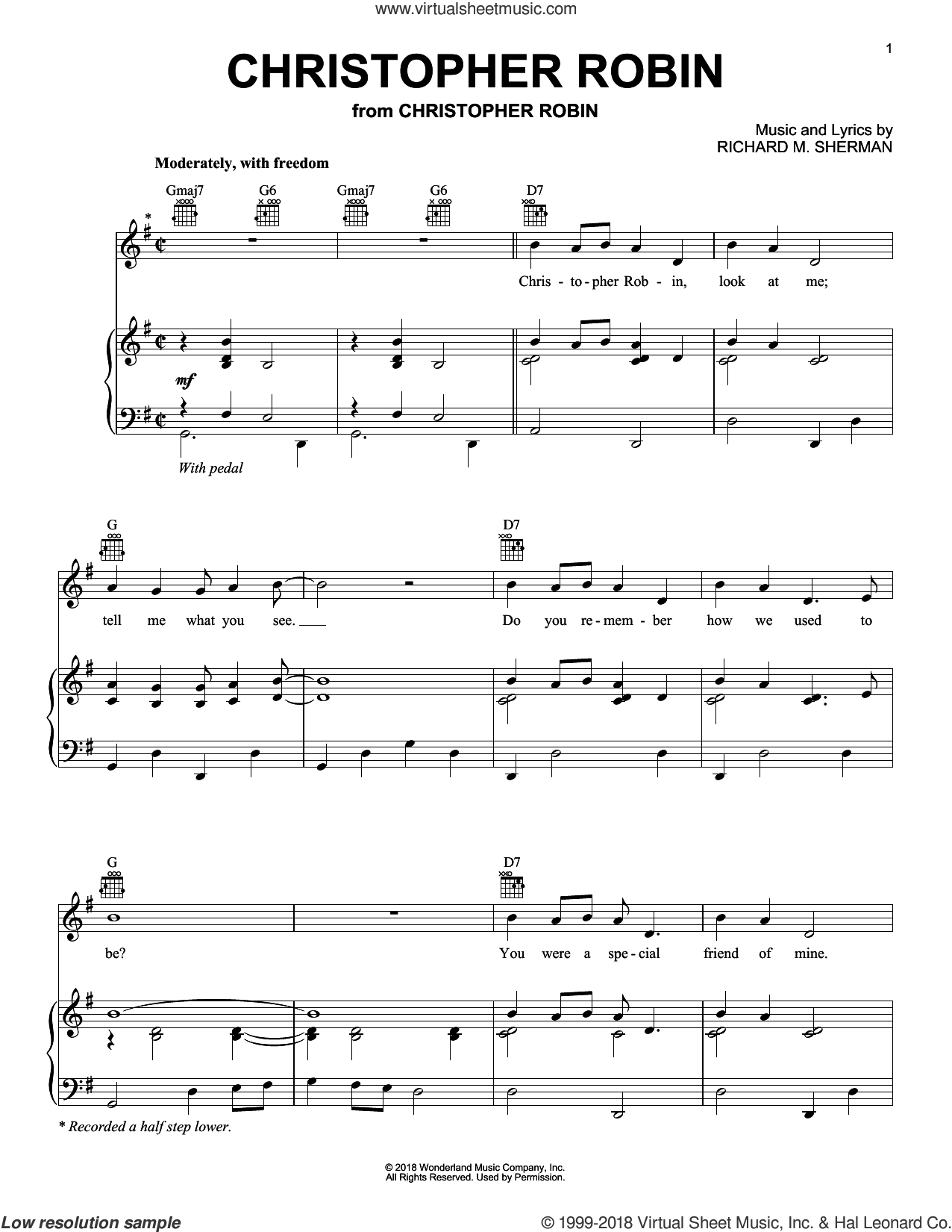 Christopher Robin (from Christopher Robin) sheet music for voice, piano or guitar by Geoff Zanelli & Jon Brion, Geoff Zanelli, Jon Brion and Richard M. Sherman, intermediate skill level