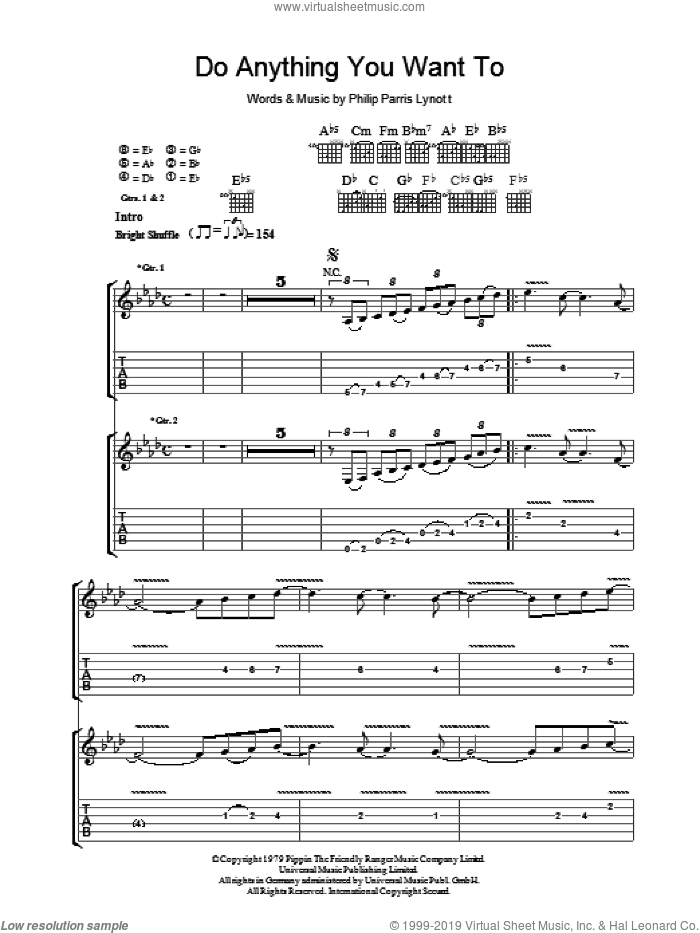 Do Anything You Want To sheet music for guitar (tablature) by Phil Lynott and Thin Lizzy. Score Image Preview.