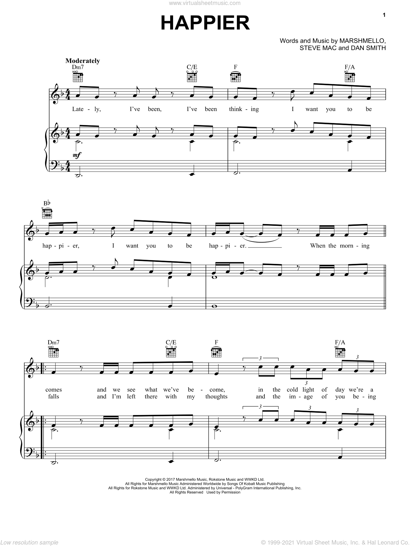 Happier sheet music for voice, piano or guitar by Marshmello, Marshmello & Bastille, Dan Smith and Steve Mac, intermediate skill level