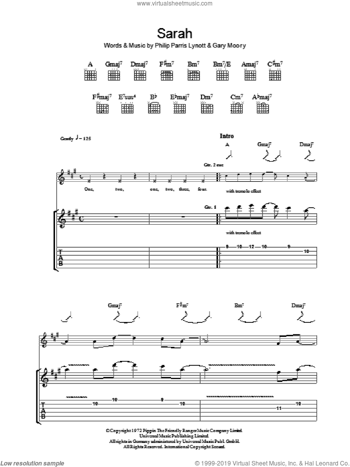 Sarah sheet music for guitar (tablature) by Thin Lizzy, Gary Moore and Phil Lynott. Score Image Preview.