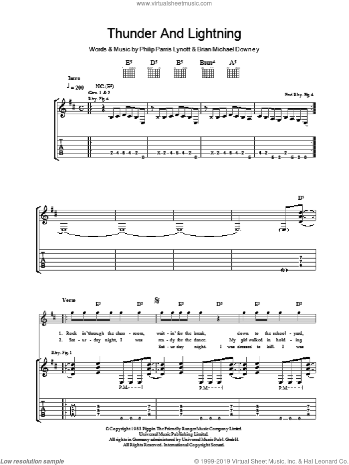 Thunder And Lightning sheet music for guitar (tablature) by Thin Lizzy, Brian Downey and Phil Lynott, intermediate skill level
