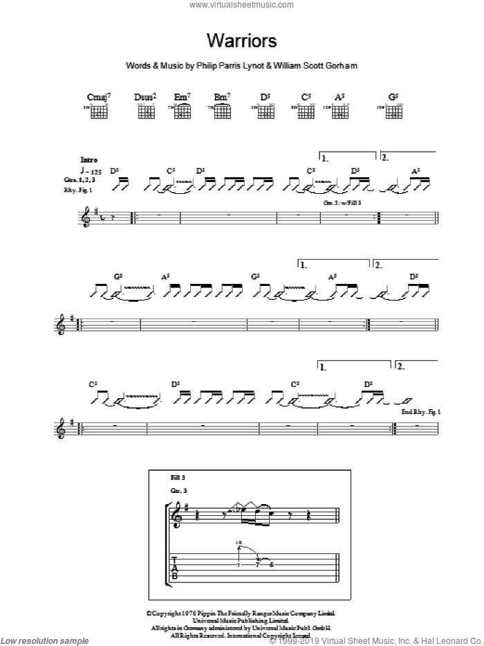 Warriors sheet music for guitar (tablature) by Thin Lizzy, Phil Lynott and Scott Gorham, intermediate skill level