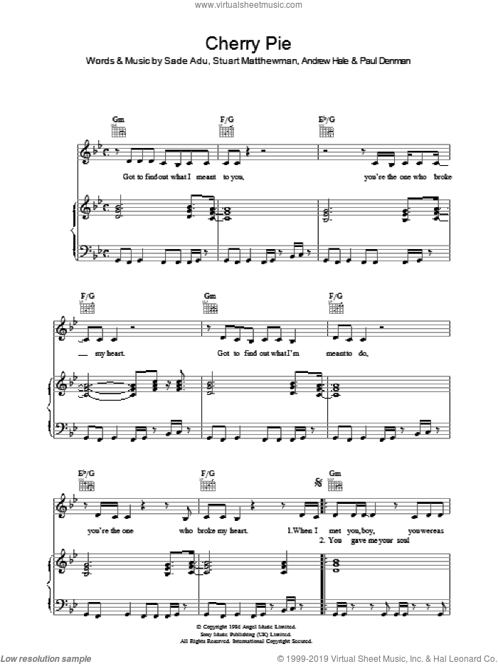 Cherry Pie sheet music for voice, piano or guitar by Andrew Hale