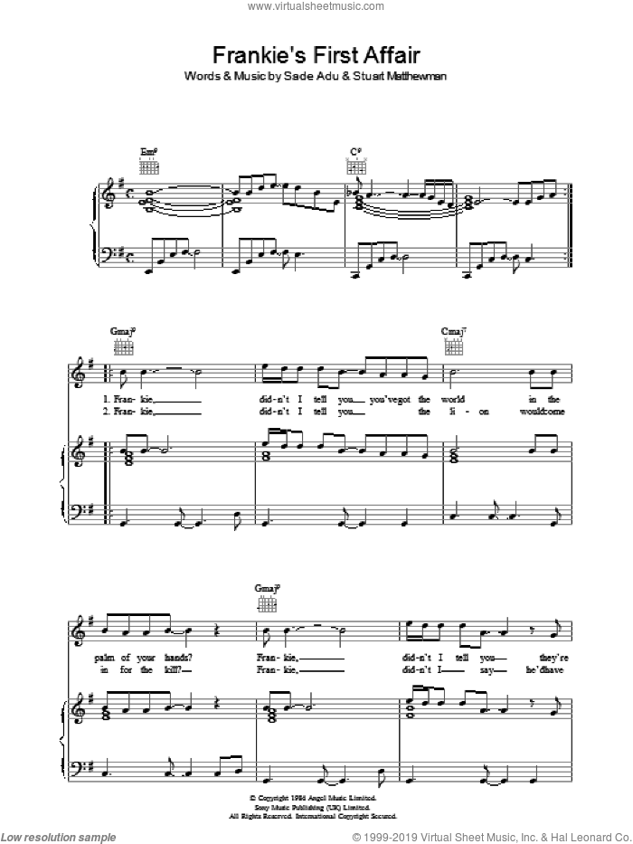 Frankie's First Affair sheet music for voice, piano or guitar by Sade, intermediate. Score Image Preview.