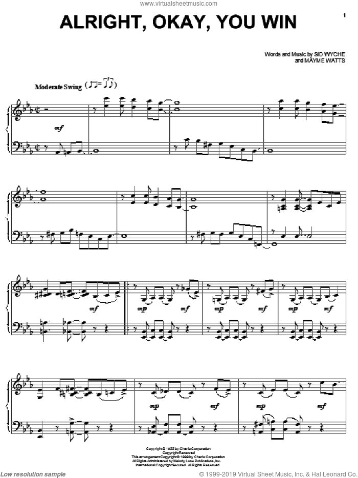Alright, Okay, You Win, (intermediate) sheet music for piano solo by Peggy Lee, Mayme Watts and Sid Wyche, intermediate skill level