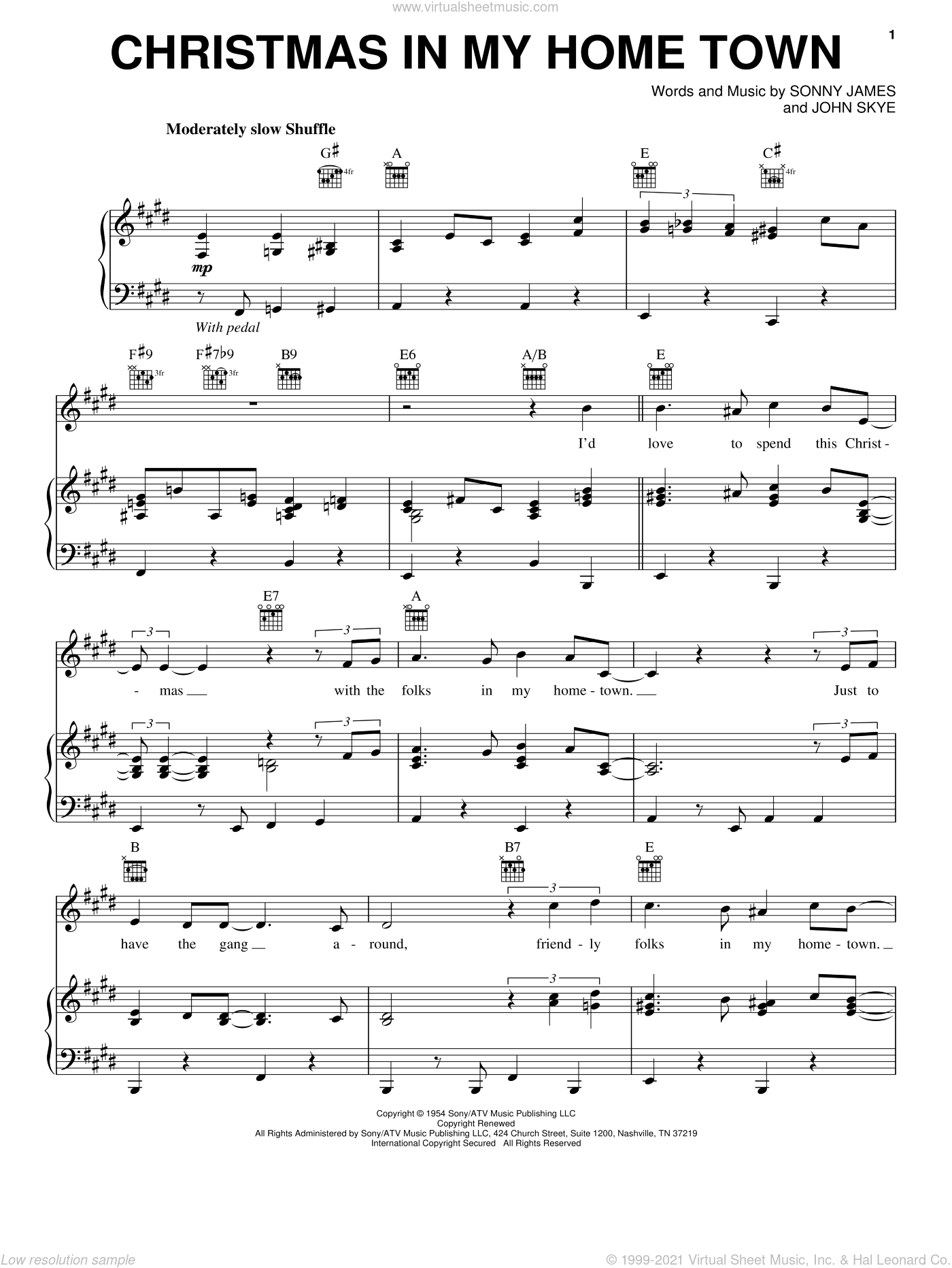 Christmas In My Home Town sheet music for voice, piano or guitar by Eric Clapton, John Skye and Sonny James, intermediate skill level