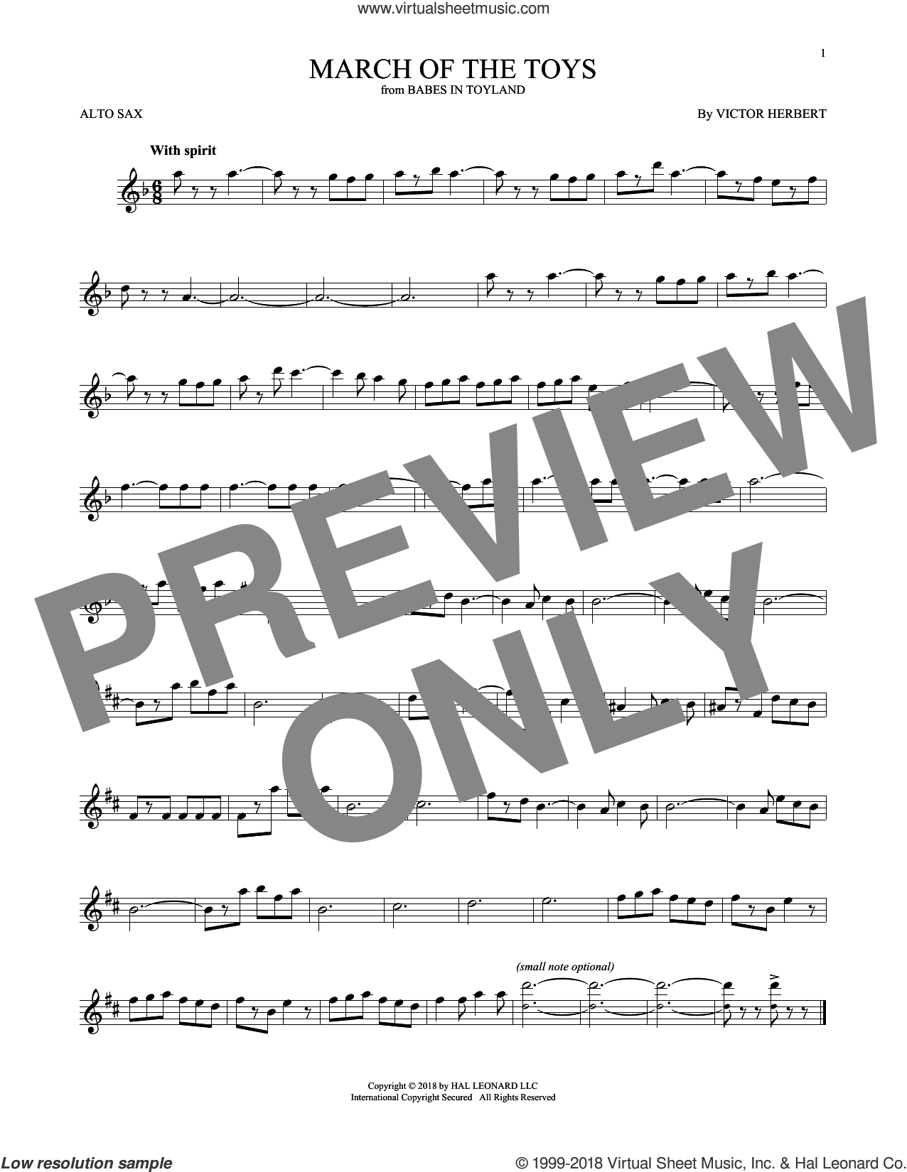 March Of The Toys sheet music for alto saxophone solo by Victor Herbert, intermediate skill level