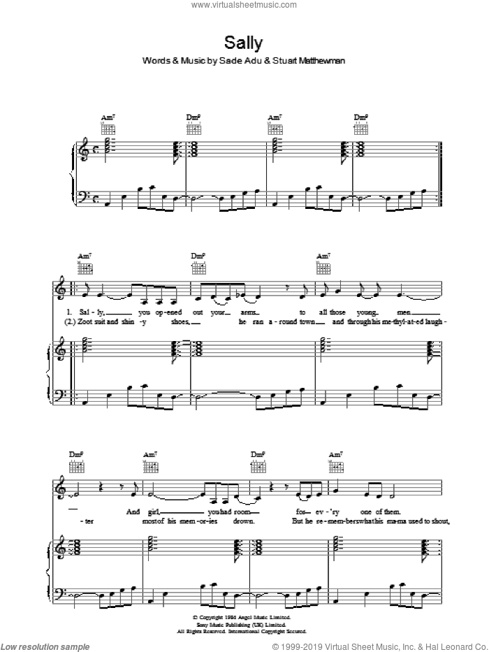 Sally sheet music for voice, piano or guitar by Sade, intermediate. Score Image Preview.