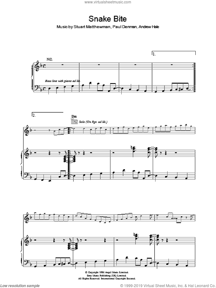 Snake Bite sheet music for voice, piano or guitar by Andrew Hale