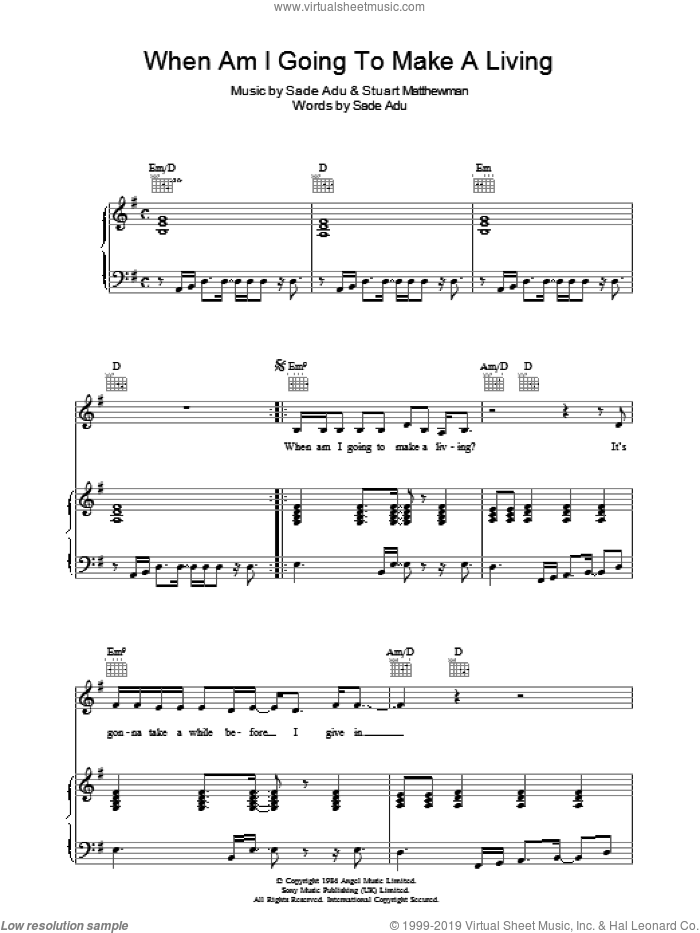 When Am I Going To Make A Living sheet music for voice, piano or guitar by Sade, Helen Adu and Stuart Matthewman, intermediate skill level