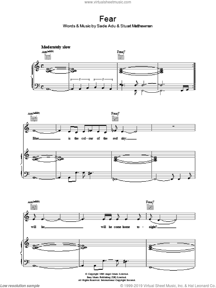 Fear sheet music for voice, piano or guitar by Helen Adu