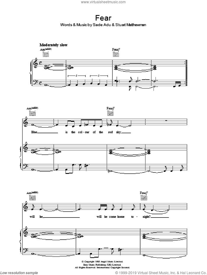Fear sheet music for voice, piano or guitar by Sade, Helen Adu and Stuart Matthewman, intermediate skill level