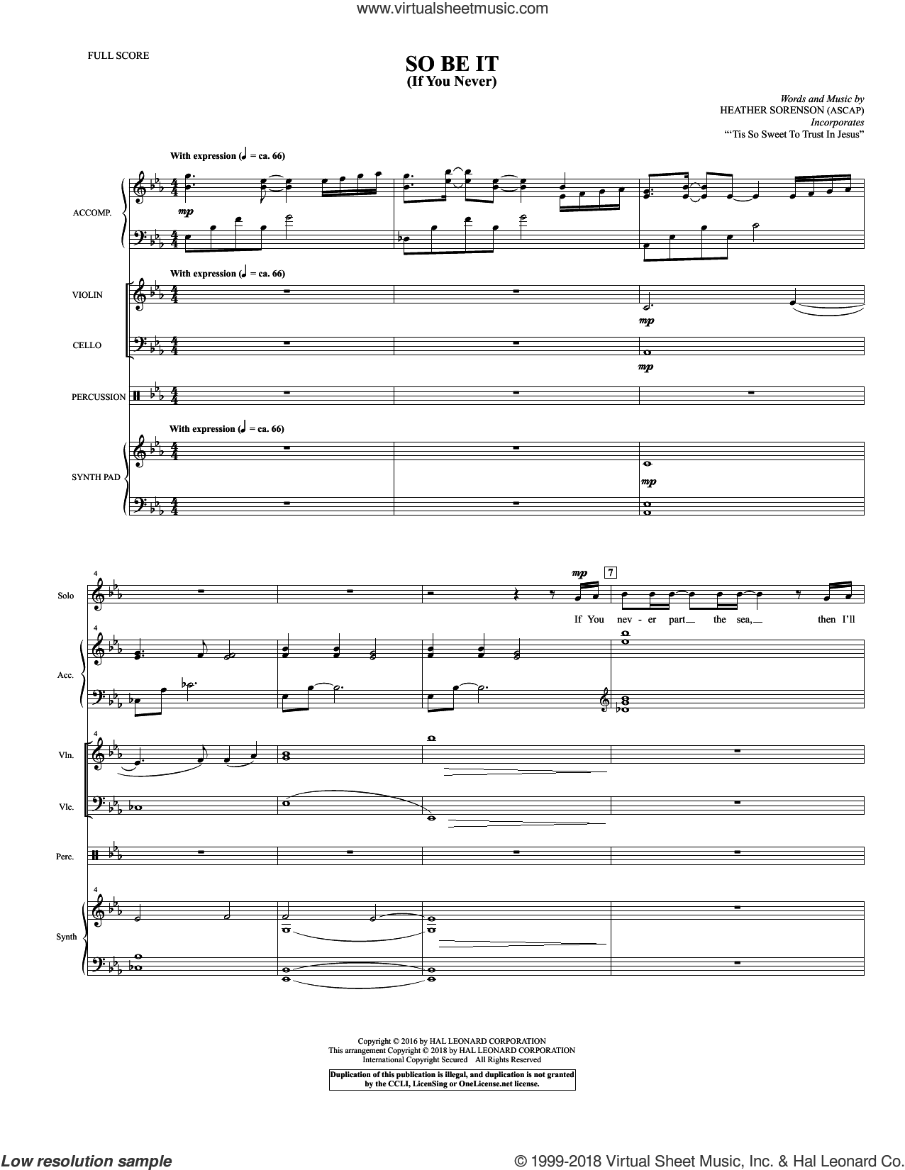 So Be It (If You Never) (COMPLETE) sheet music for orchestra/band by Heather Sorenson, intermediate skill level