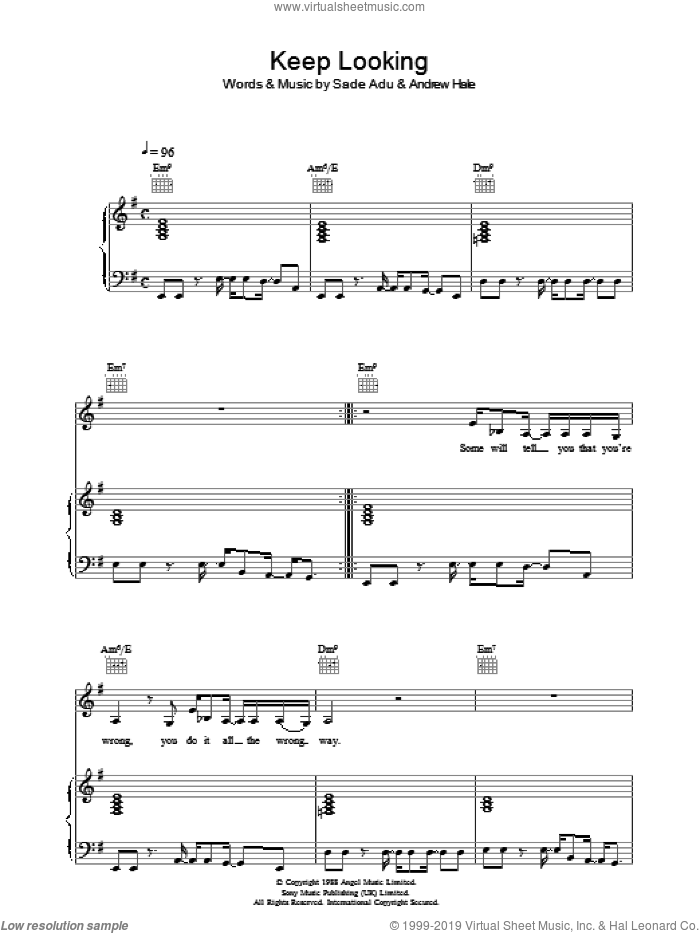 Keep Looking sheet music for voice, piano or guitar by Andrew Hale, Sade and Helen Adu. Score Image Preview.