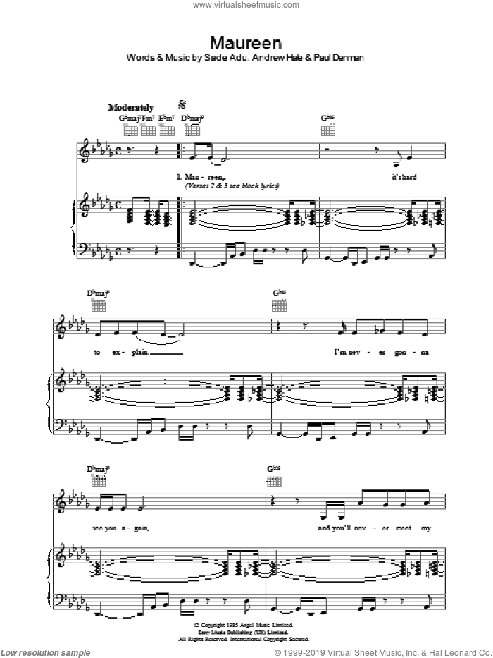 Maureen sheet music for voice, piano or guitar by Andrew Hale, Sade and Helen Adu. Score Image Preview.