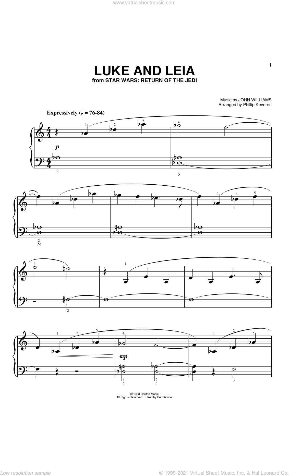 Luke And Leia (from Star Wars: Return of the Jedi) (arr. Phillip Keveren) sheet music for piano solo (big note book) by John Williams and Phillip Keveren, easy piano (big note book)