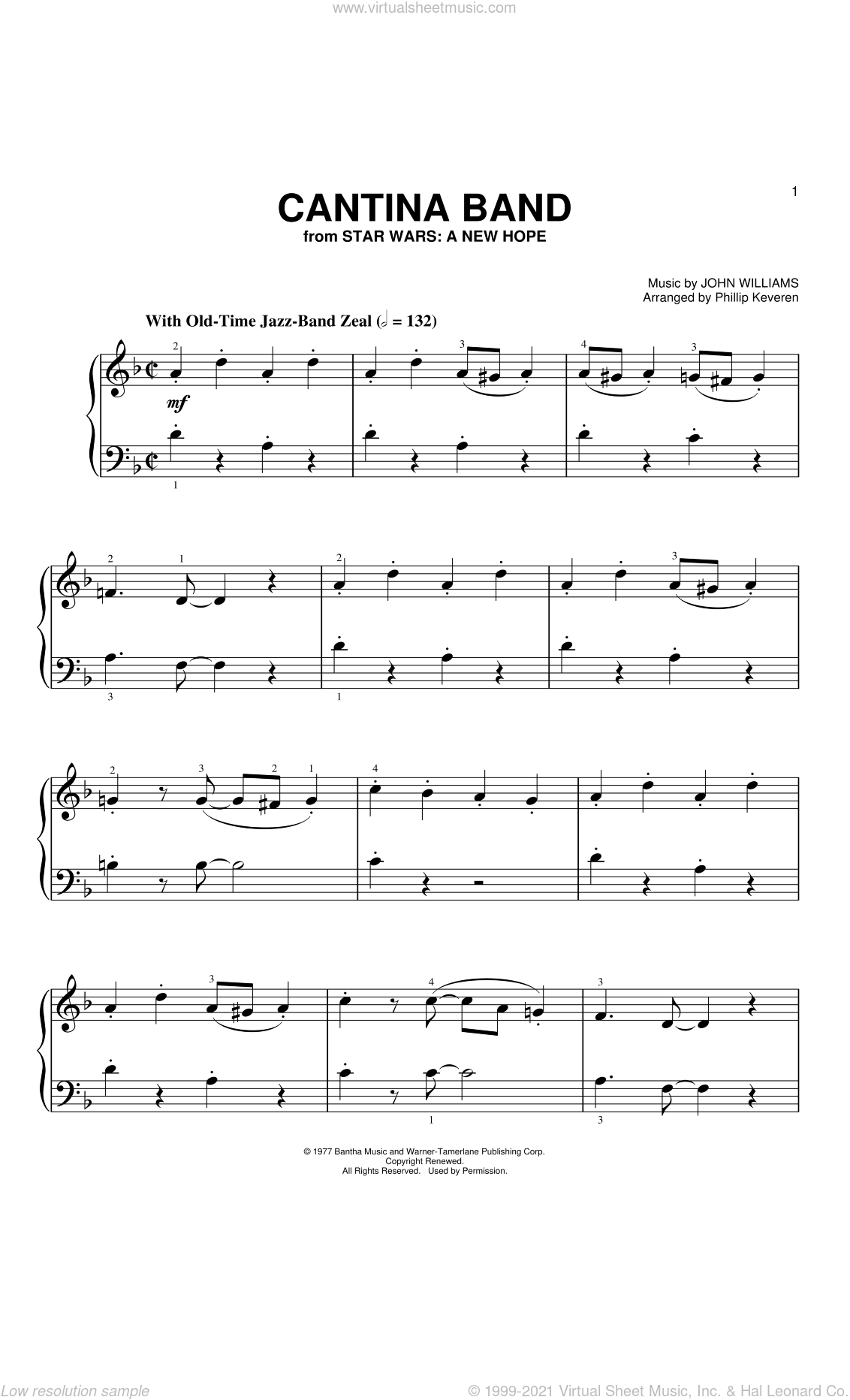 Cantina Band (from Star Wars: A New Hope) (arr. Phillip Keveren) sheet music for piano solo (big note book) by John Williams and Phillip Keveren, easy piano (big note book)