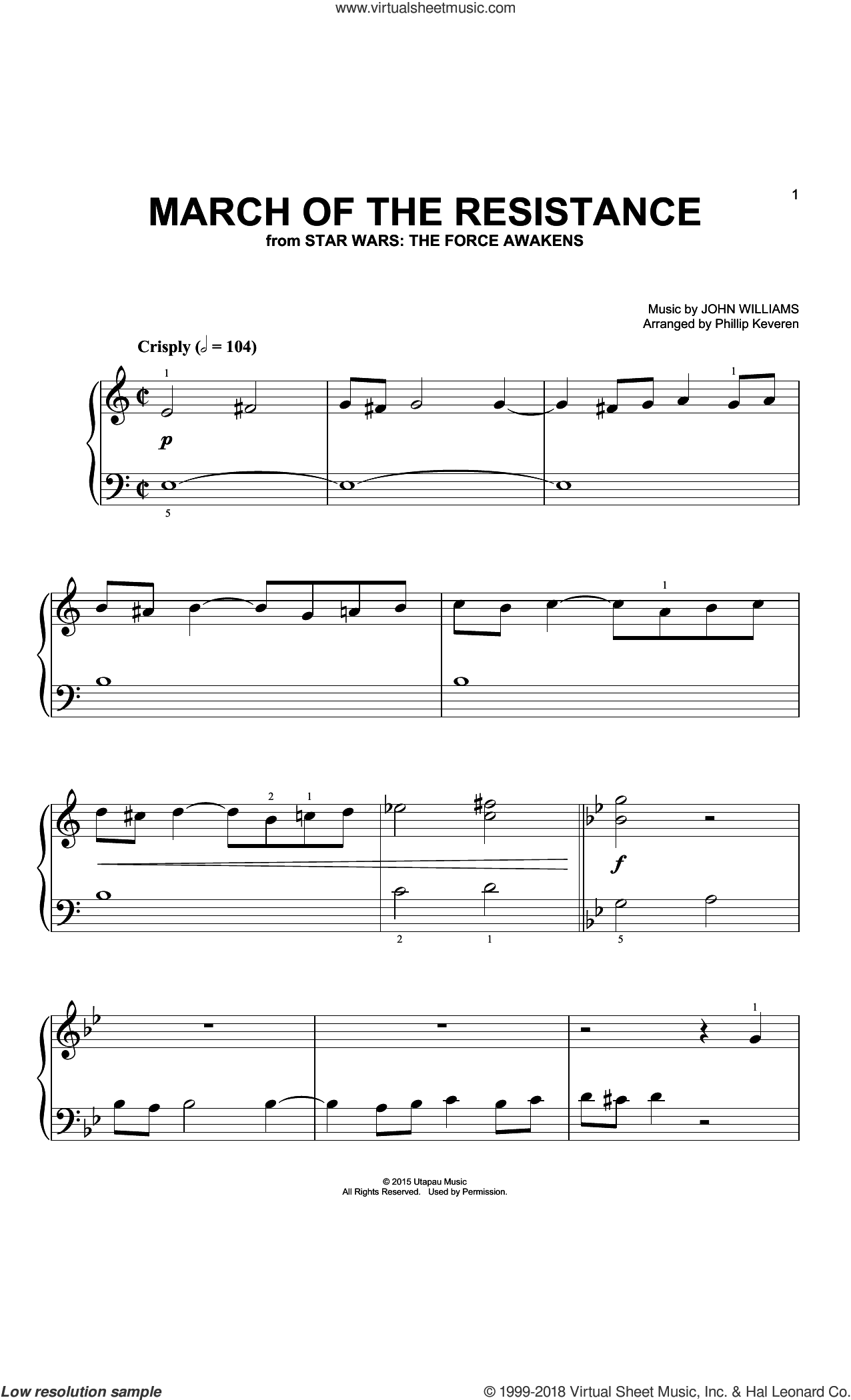 March Of The Resistance (Arr. Phillip Keveren) sheet music for piano solo (big note book) by John Williams and Phillip Keveren, easy piano (big note book)