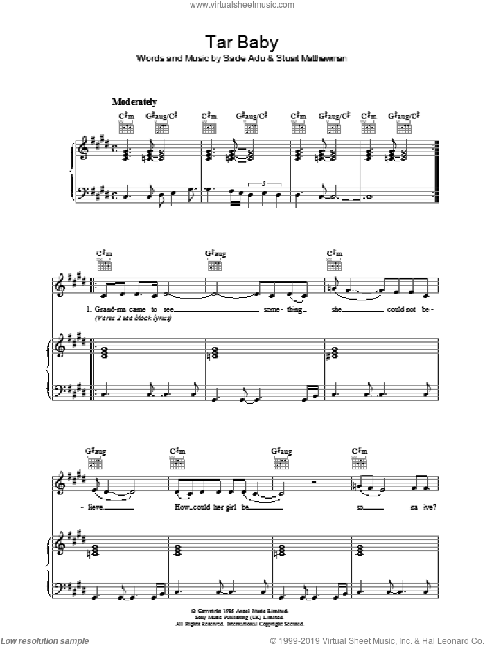 Tar Baby sheet music for voice, piano or guitar by Sade, Helen Adu and Stuart Matthewman, intermediate. Score Image Preview.