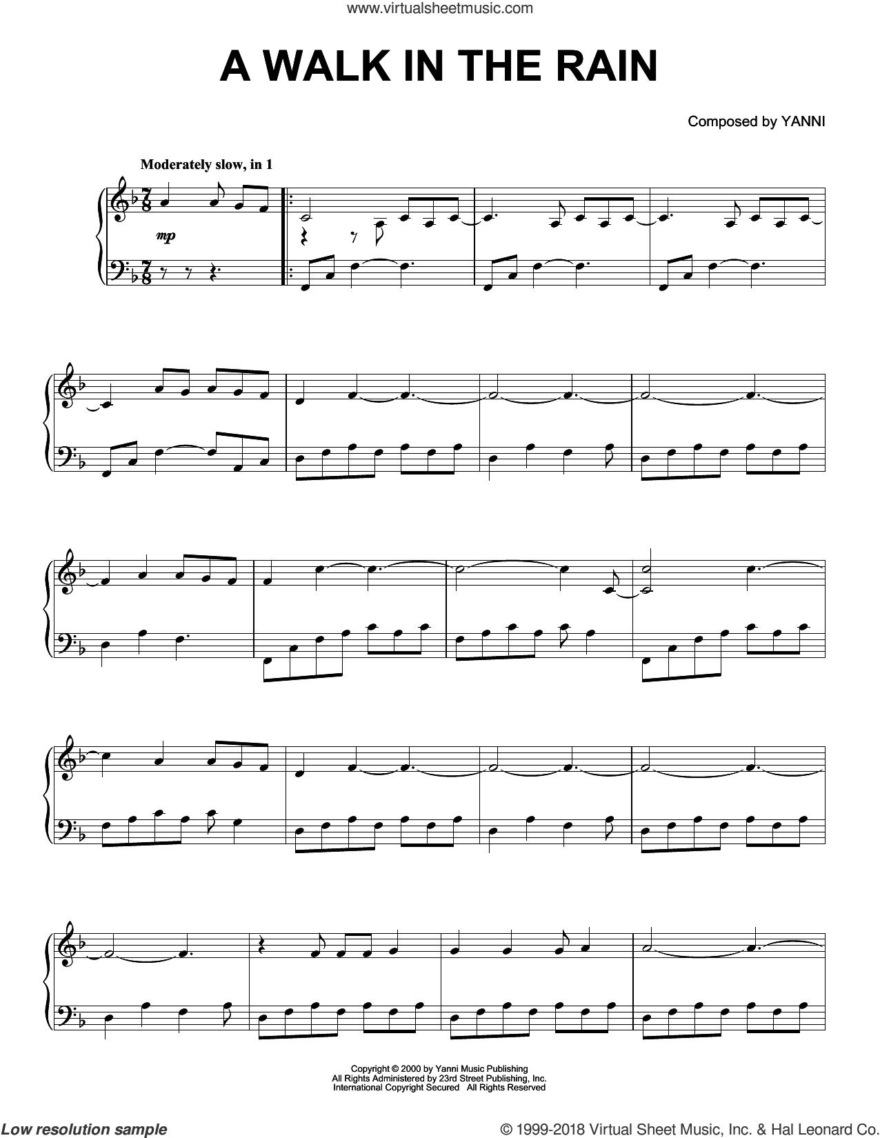 A Walk In The Rain sheet music for piano solo by Yanni, intermediate skill level