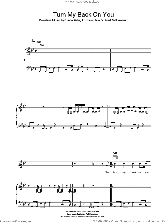 Turn My Back On You sheet music for voice, piano or guitar by Andrew Hale, Sade, Helen Adu and Stuart Matthewman