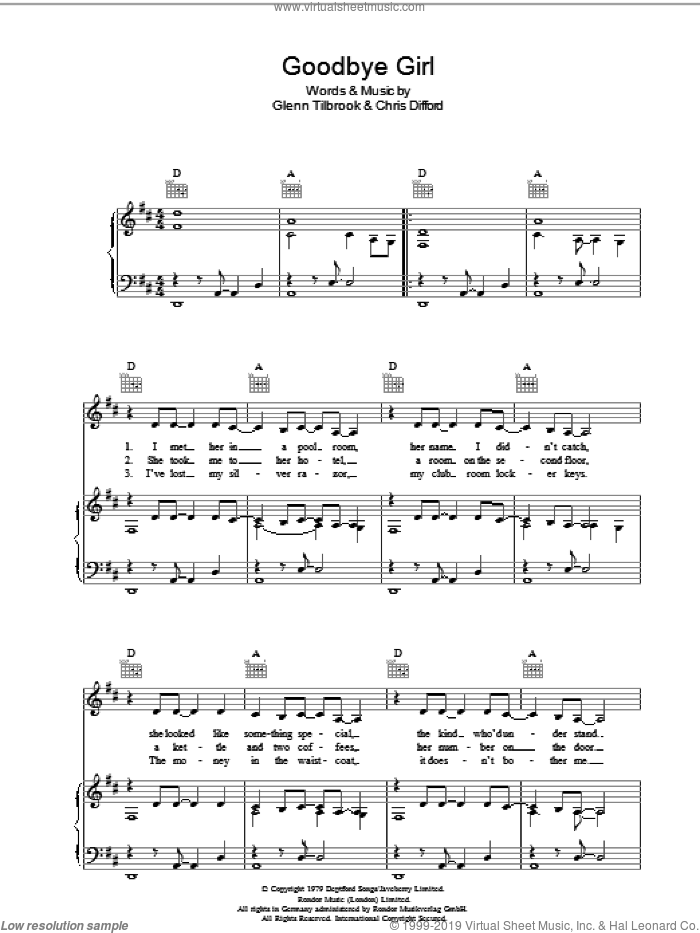 Goodbye Girl sheet music for voice, piano or guitar by Chris Difford and Glenn Tilbrook. Score Image Preview.